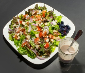 Blueberry Bacon Sage Salad with Pink Herb Dressing