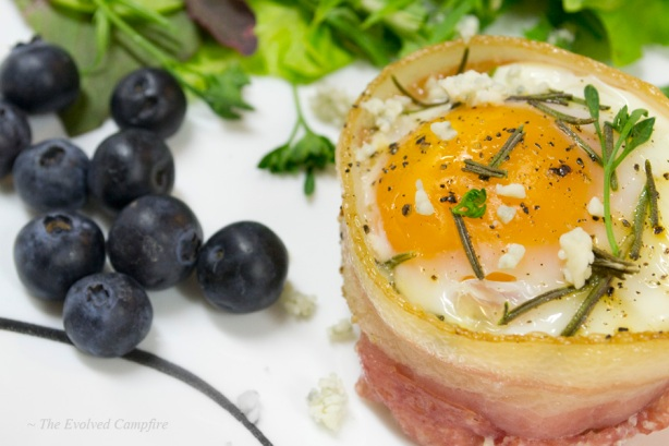 Egg Bacon Basket Blueberries